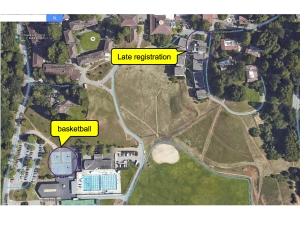 Map of athletic field and gym.